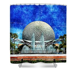 Shower Curtain featuring the digital art Spaceship Earth And Fountain Of Nations by Sandy MacGowan
