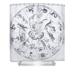 Star Map From Kirchers Oedipus Shower Curtain by Science Source