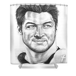 Tim Tebow Shower Curtain by Murphy Elliott