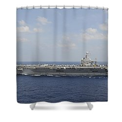 Uss Abraham Lincoln Transits The Indian Shower Curtain by Stocktrek Images