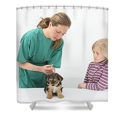 Vet Giving Pup Its Primary Vaccination Shower Curtain by Mark Taylor
