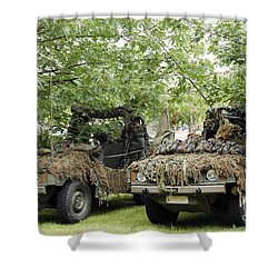 Vw Iltis Jeeps Used By Scout Or Recce Shower Curtain by Luc De Jaeger