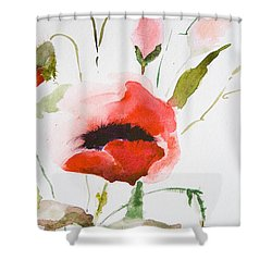 Watercolor Poppy Flower  Shower Curtain