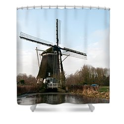 Shower Curtain featuring the digital art Windmill In Amsterdam by Carol Ailles