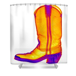 X-ray Of A Cowboy Boot Shower Curtain by Ted Kinsman