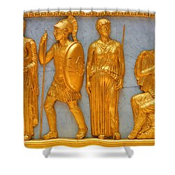 24 Kt. Gold Greek Figures Shower Curtain by Linda Phelps
