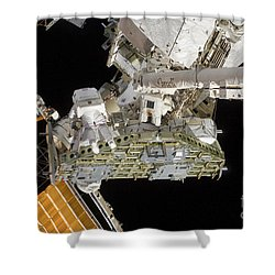 Astronauts Working On The International Shower Curtain by Stocktrek Images