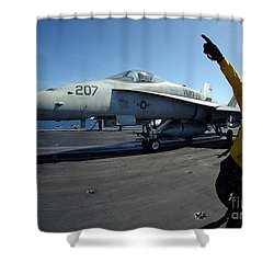 Aviation Boatswains Mate Directs Shower Curtain by Stocktrek Images