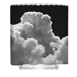 Black And White Sky With Building Storm Clouds Fine Art Print Shower Curtain