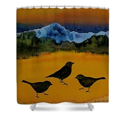 3 Blackbirds Shower Curtain by Carolyn Doe