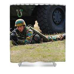 Infantry Soldiers Of The Belgian Army Shower Curtain by Luc De Jaeger