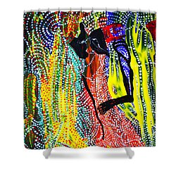 Shower Curtain featuring the painting Jesus And Mary by Gloria Ssali