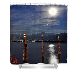 Moon Light Over An Alpine Lake Shower Curtain