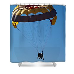 3 People Para-sailing Pachmarhi Shower Curtain by Ashish Agarwal