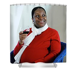 Pregnant Woman Drinking Wine Shower Curtain by Photo Researchers