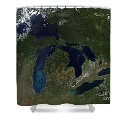 Satellite View Of The Great Lakes Shower Curtain by Stocktrek Images