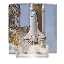 Space Shuttle Atlantis Twin Solid Shower Curtain by Stocktrek Images