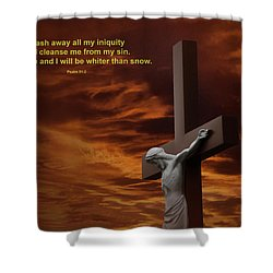 The Cross Shower Curtain by David Arment