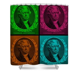 Thomas Jefferson In Quad Colors Shower Curtain by Rob Hans