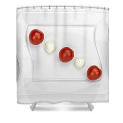 Tomato Mozzarella Shower Curtain by Joana Kruse