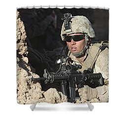 U.s. Marine Provides Security Shower Curtain by Stocktrek Images