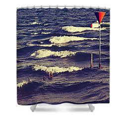 Waves Shower Curtain by Joana Kruse