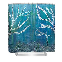 Shower Curtain featuring the painting 3 White Trees by Dolores  Deal