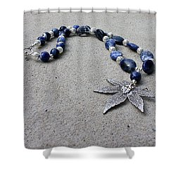3593 Sodalite And Silver Necklace With Japanese Maple Leaf Pendant  Shower Curtain by Teresa Mucha