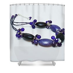 3598 Purple Cracked Agate Necklace Shower Curtain by Teresa Mucha