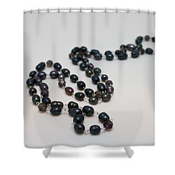 3613 Peacock Freshwater Pearl Rope Length Necklace  Shower Curtain by Teresa Mucha