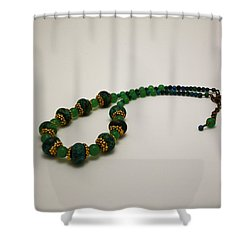 3616 Austrailian Jasper And Adventurine Necklace Shower Curtain by Teresa Mucha