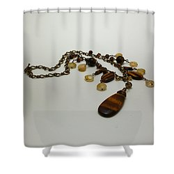 3618 Tigereye And Citrine Necklace Shower Curtain by Teresa Mucha