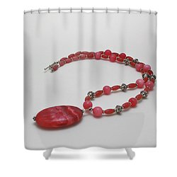 3619 Rhodonite And Bali Sterling Silver Necklace Shower Curtain by Teresa Mucha
