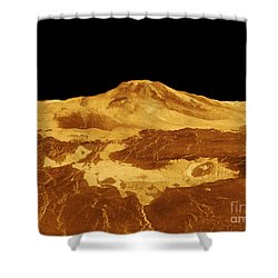 3d Perspective View Of Maat Mons Shower Curtain by Stocktrek Images