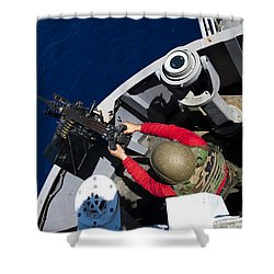 A Sailor Fires A .50-caliber Machine Shower Curtain by Stocktrek Images