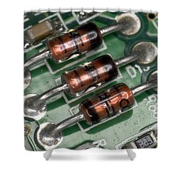 Electronics Board Shower Curtain by Ted Kinsman