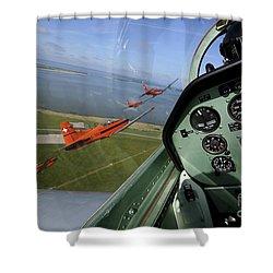 Inside The Pilatus Pc-7 Turboprop Shower Curtain by Daniel Karlsson