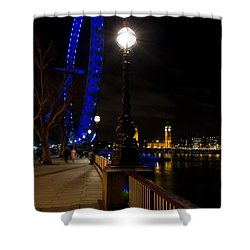 London Eye Night View Shower Curtain by David Pyatt