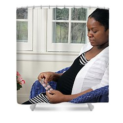 Pregnant Woman Taking Vitamins Shower Curtain by Photo Researchers