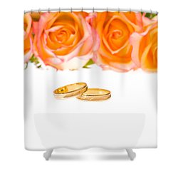4 Red Yellow Roses And Wedding Rings Over White Shower Curtain by Ulrich Schade