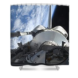 Space Shuttle Discovery Backdropped Shower Curtain by Stocktrek Images