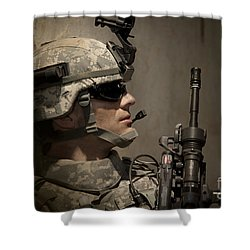 U.s. Army Ranger In Afghanistan Combat Shower Curtain by Tom Weber