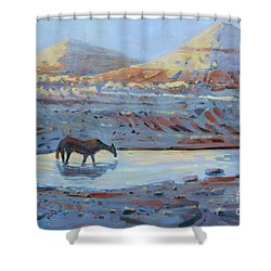 Shower Curtain featuring the painting Water Hole by Donald Maier