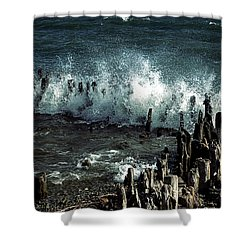 Waves Shower Curtain by Joana Kruse