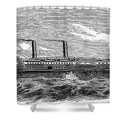4 Wheel Steamship, 1867 Shower Curtain by Granger