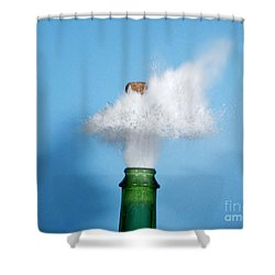 Champagne Cork Popping Shower Curtain by Ted Kinsman