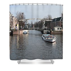 Shower Curtain featuring the digital art City Scenes From Amsterdam by Carol Ailles