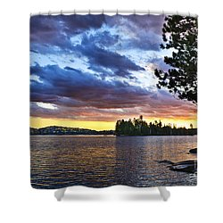 Dramatic Sunset At Lake Shower Curtain by Elena Elisseeva