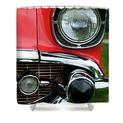 57 Chevy Left Front 8560 Shower Curtain by Guy Whiteley