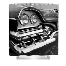 58 Plymouth Fury Black And White Shower Curtain